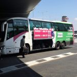 Fiumicino airport Terravision bus waiting on the platform