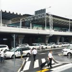 Fiumicino airport white taxi lined up