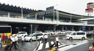 The Taxi line at Rome Airport FCO