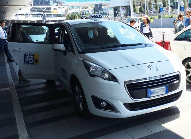 Fiumicino airport white regular taxi