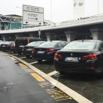 Fiumicino airport black private transfers cars lined up