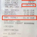 Barcelona airport official taxi receipt