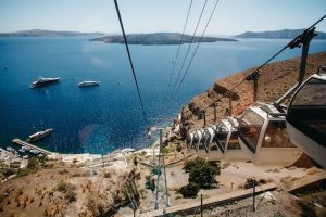 View from Cable Car in Santorini