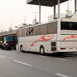 Athens airport KTEL bus waiting on the platform