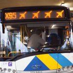 Athens airport bus X95 waitng on the platform