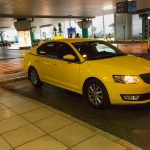 Athens airport yellow taxi