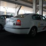 Madrid airport white taxis lined up