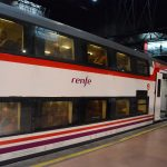 Madrid airport double-deck renfe train waiting on the platform