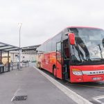 CDG airport Magical shuttle bus waiting on the platform