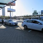 Amsterdam airport white taxis lined up