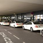 Vienna airport white taxis lined up