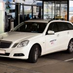 Vienna airport white taxi