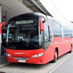 Vienna airport Slovak Lines bus waiting on the platform
