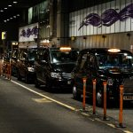 Heathrow black airport taxis lined up