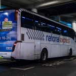 Gatwick airport National Express bus waiting on the platform