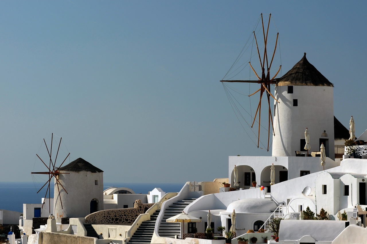 santorini-windmills