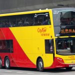 a21 bus at the bus stop of hong kong airport - side view