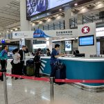 manned ticket counter for the airport express at hong kong airport