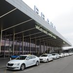 Prague airport white taxis lined up