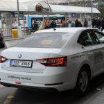 Prague airport white taxi