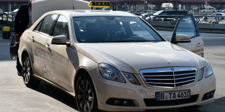 Berlin Tegel airport cream-colored taxi