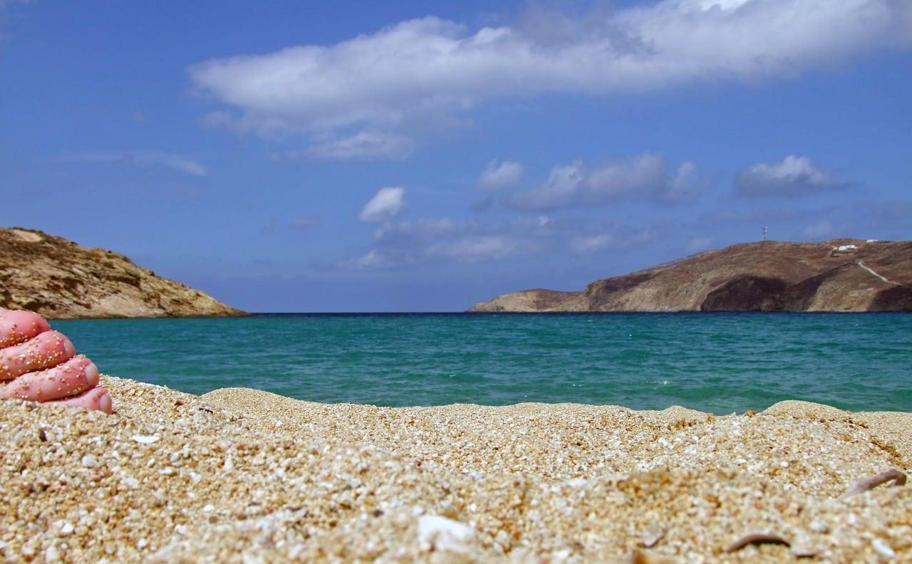 uncrowded beach mykonos greece
