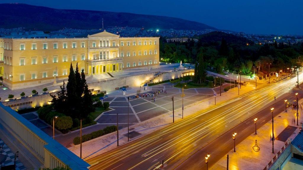 Constitution Square at night