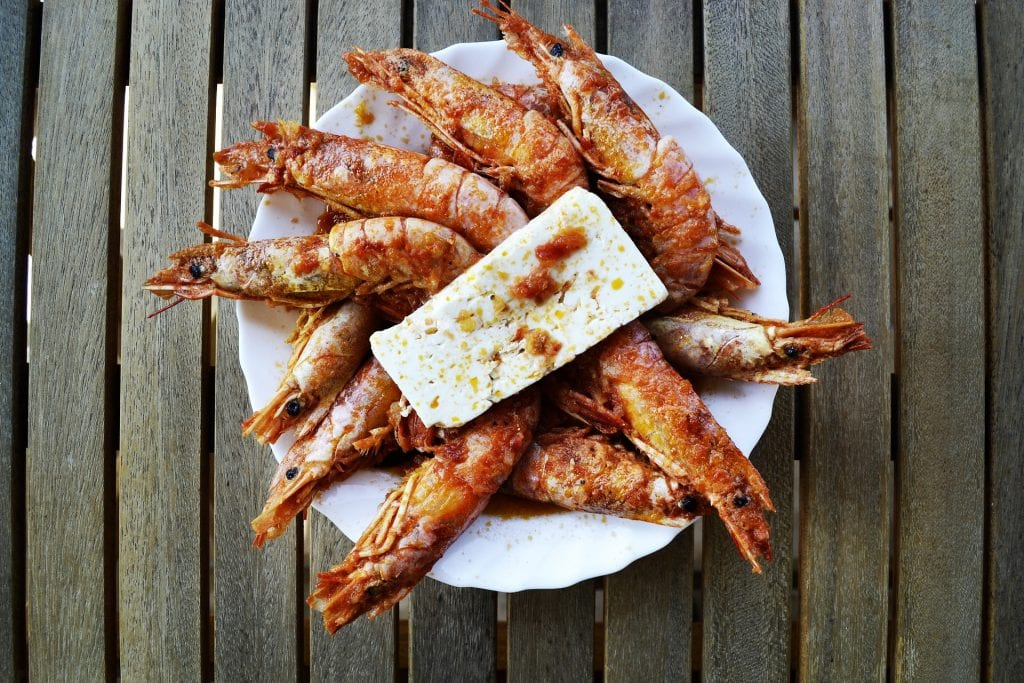shrimps with feta cheese