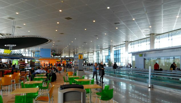 eating at the airport of Madrid