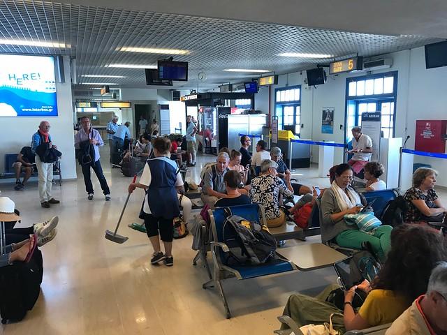 santorini airport waiting area