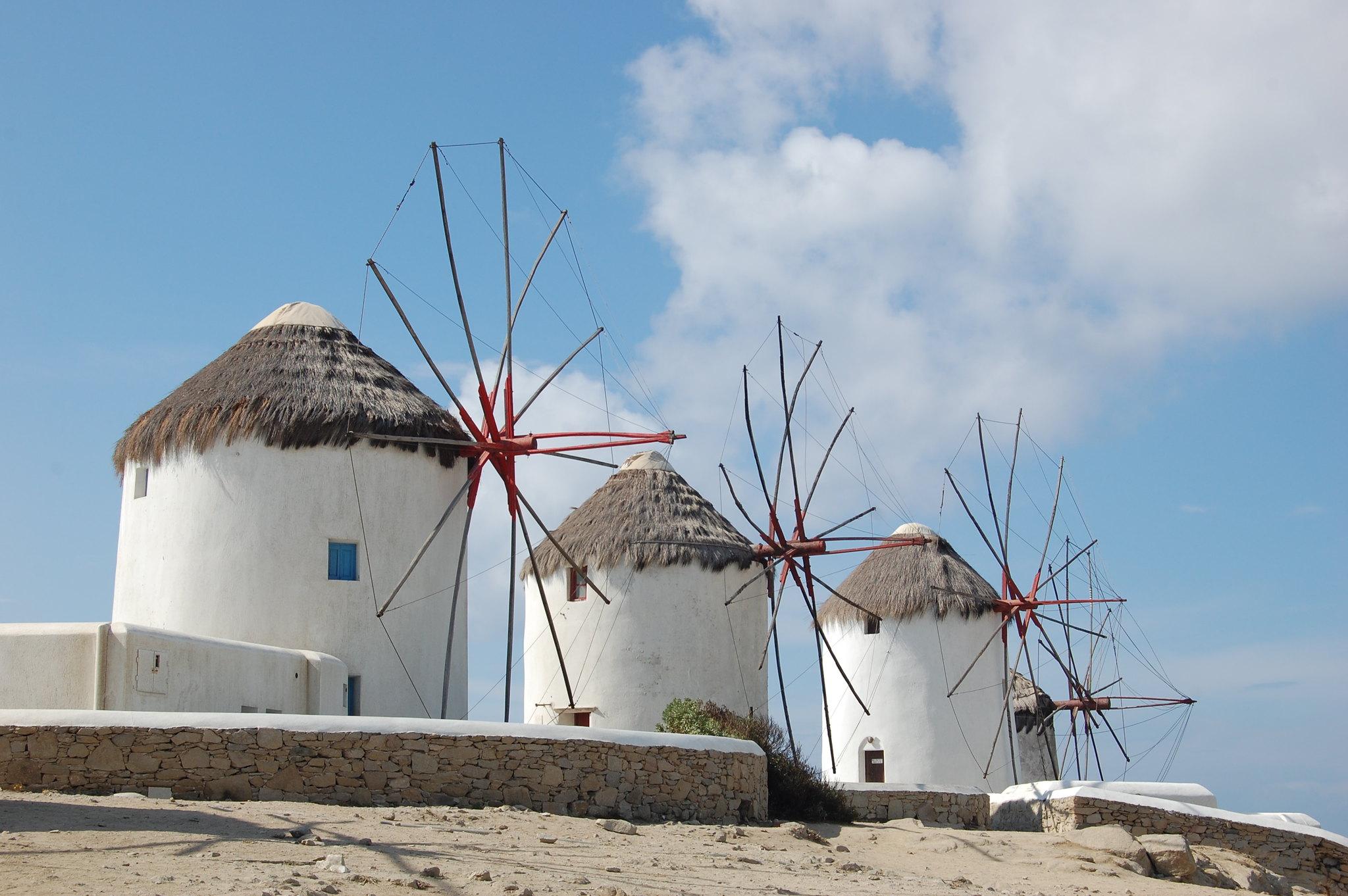 mykonos town windmills